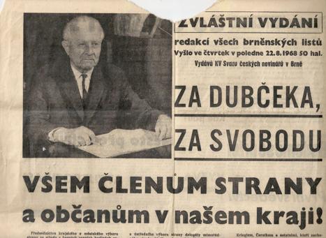 Výtah znovin té doby Jihomoravského kraje – president L. Svoboda, významný představitel politiky demokratického socialismu, uznávaný celým národem