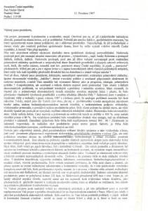 1. strana dopisu Václavu Havlovi