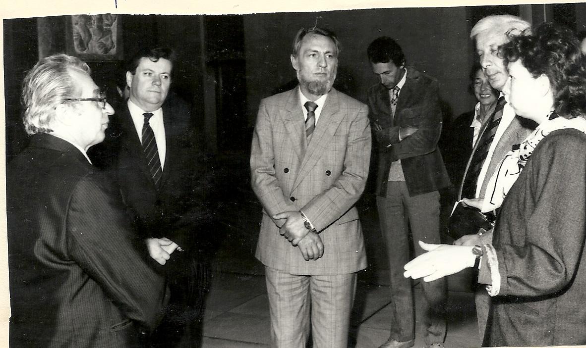 Rudolf Hegenbart při projednávání spolupráce v oblasti životního prostředí v Severočeském kraji spolu s ministrem pro životní prostředí republiky Severní- Porýní- Vesfálsko z NSR v roce 1987