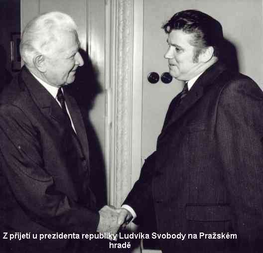 Rudolf Hegenbart při přijetí u prezidenta republiky Ludvíka Svobody na Pražském hradě